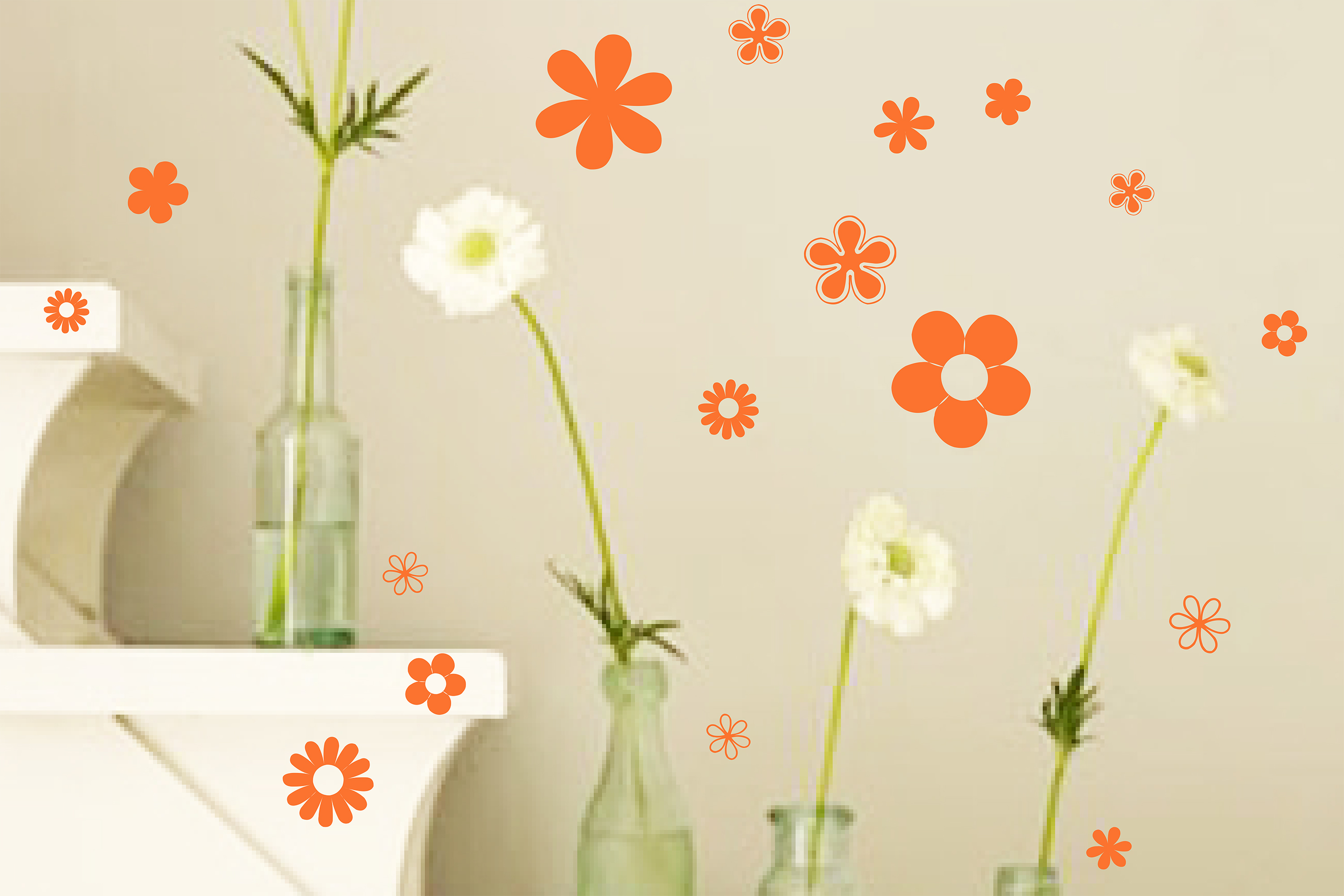 Assorted Sizes Flowers Wall Decal