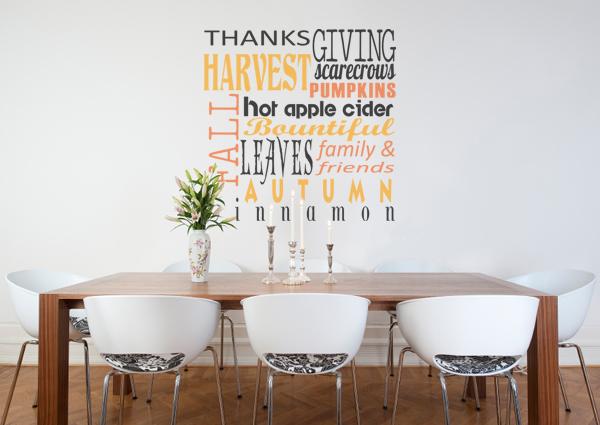 Thanksgiving Subway Art Wall Decal Item