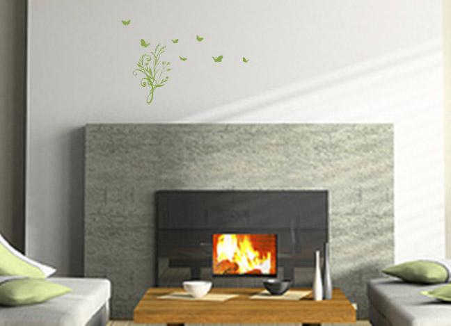 Flourish Grass And Butterflies Wall Decal