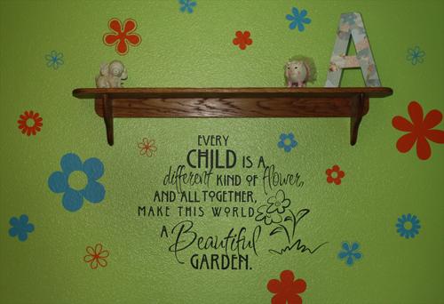 Child Flower Beautiful Garden Wall Decal