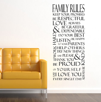 Family Rules Rectangle Wall Decal