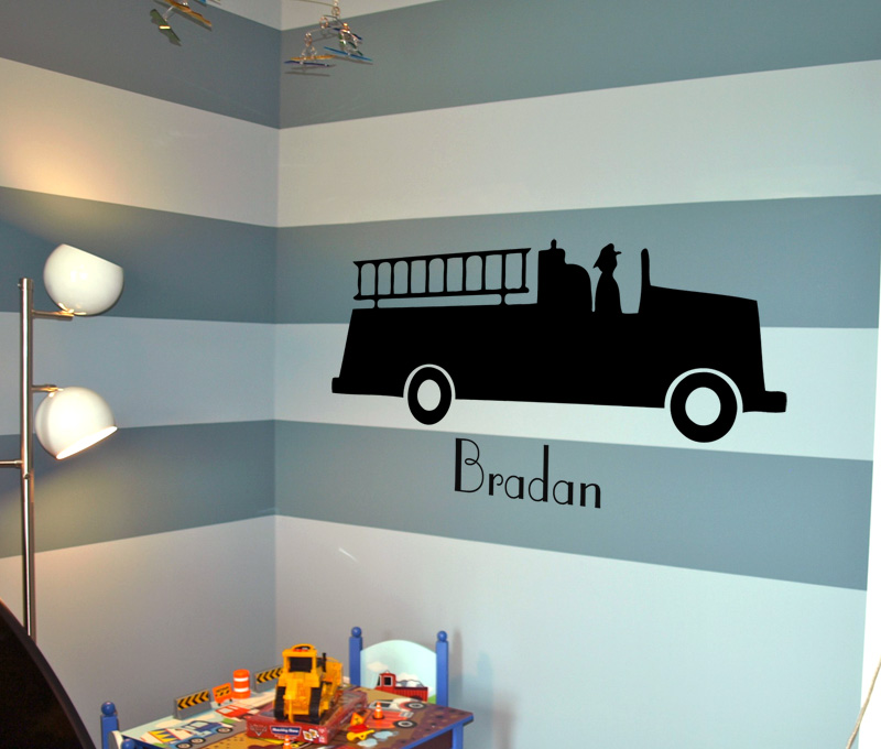 Fire Truck Name Wall Decal