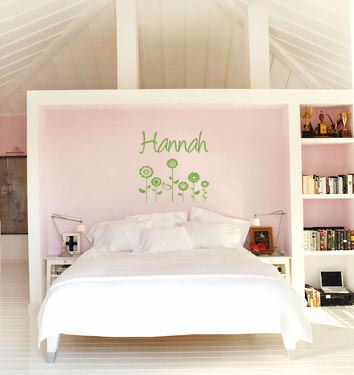 Name With Retro Flowers Wall Decal