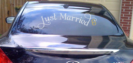Just Married with Rings Car Window Decal