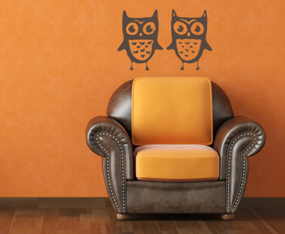 Pair of Owls Wall Decal