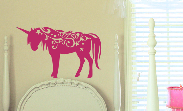 Swirly Unicorn Wall Decal