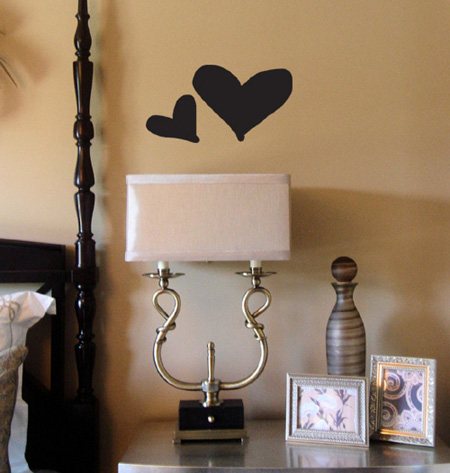 Set Of Two Hearts Wall Decal