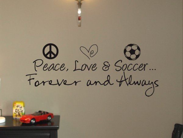 Peace Love Soccer Wall Decal