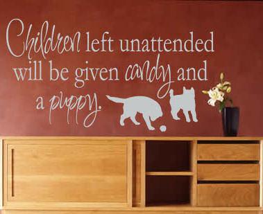 Children Left Unattended...  Wall Decals