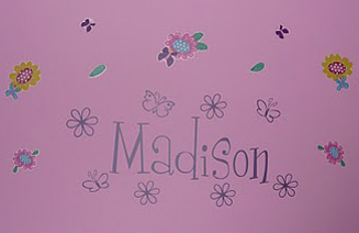 Butterfly Flower Name Wall Decal