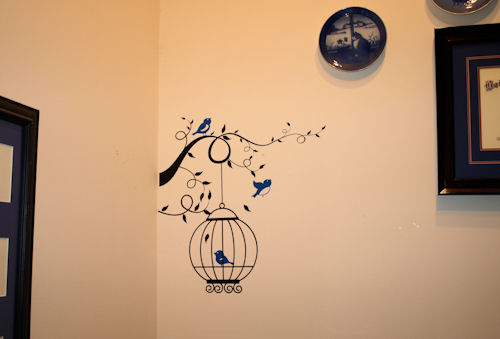 Birdcage with Curly Branch & Birds Wall Decal
