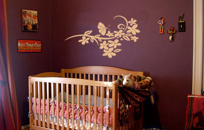 Butterfly & Flower Branch Wall Decal