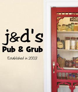 JD's Pub Grub Wall Decal