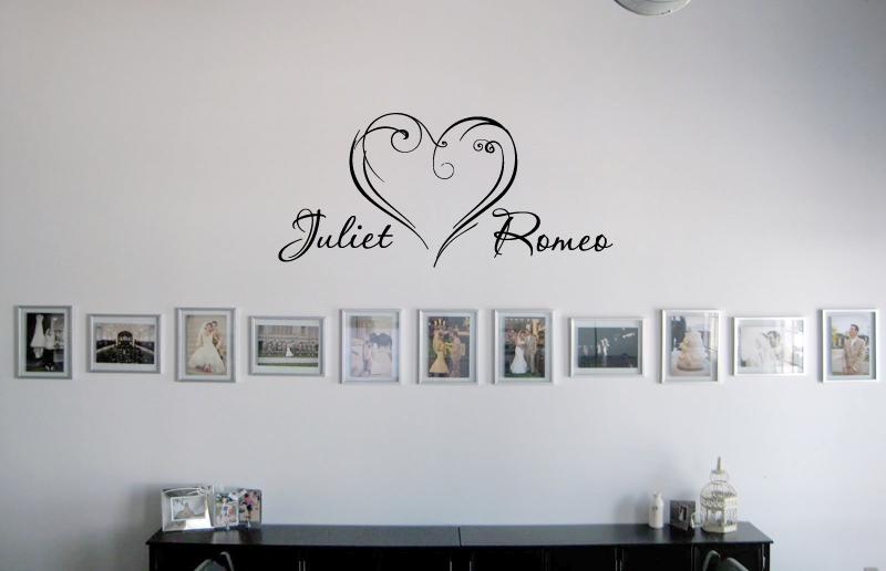 Heart Script Names Wall Decal