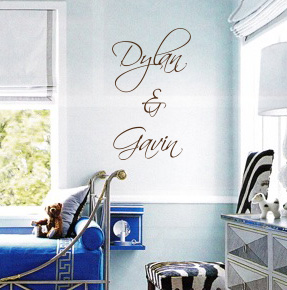 Stacked Script Names Wall Decal