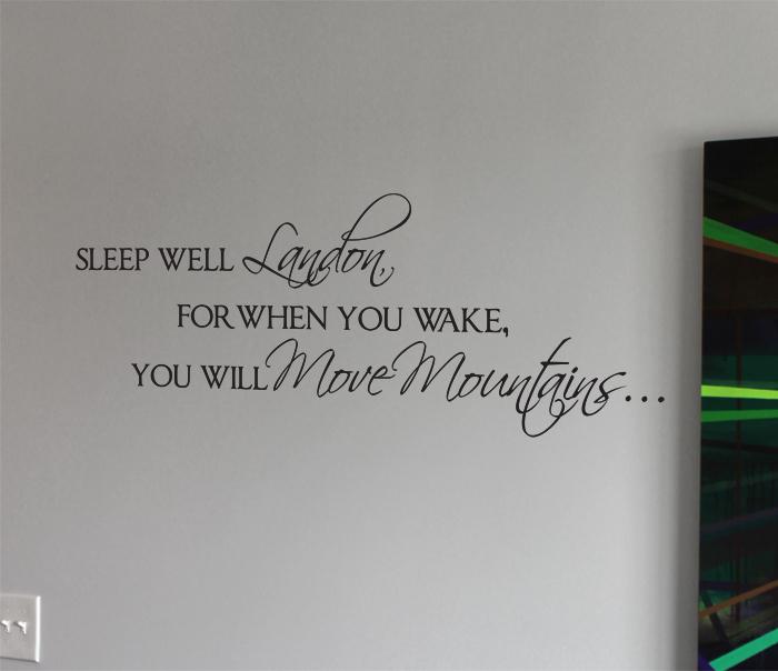 Sleep Well Move Mountains Name Wall Decal