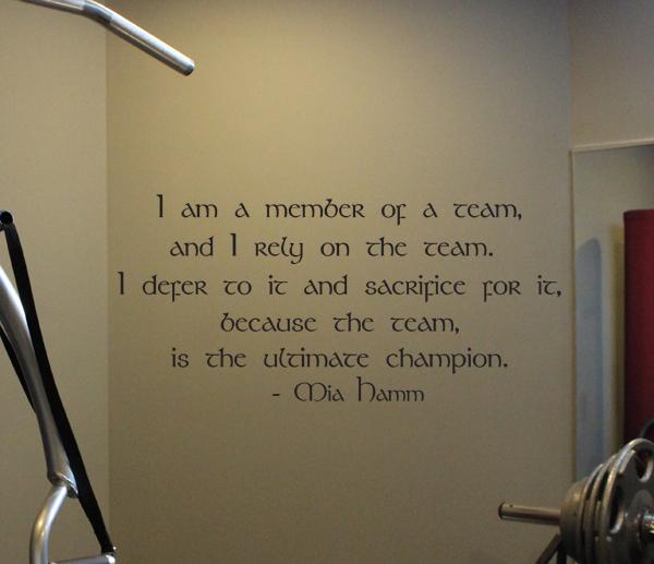 I Am A Member Of A Team Mia Hamm Wall Decal