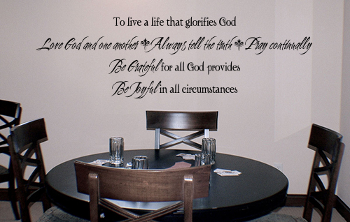 To Live A Life That Glorifies God Wall Decals