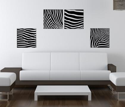 Four Zebra Stripes 2 Wall Decal