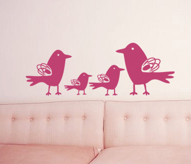 Squiggle Birds Wall Decal