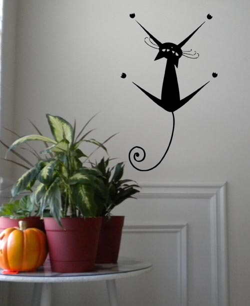 Hanging Cat Wall Decal