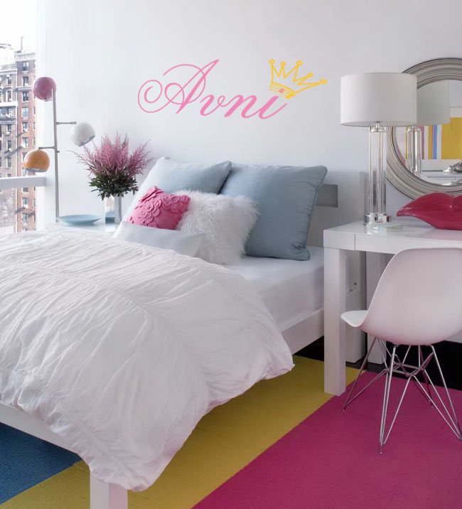 Girls Name Crown Wall Decal