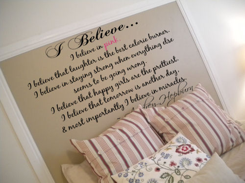 I Believe In Pink Audrey Hepburn Wall Decal