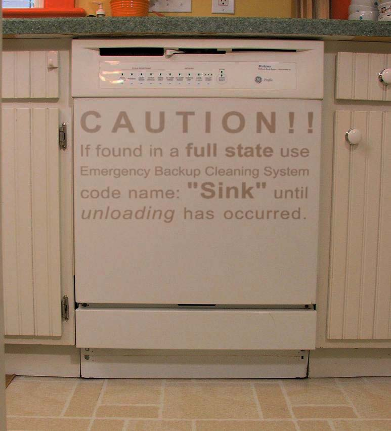 Caution Dishwasher Full State Wall Decal
