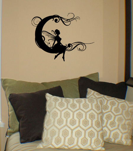Fairy Scroll Moon Wall Decals