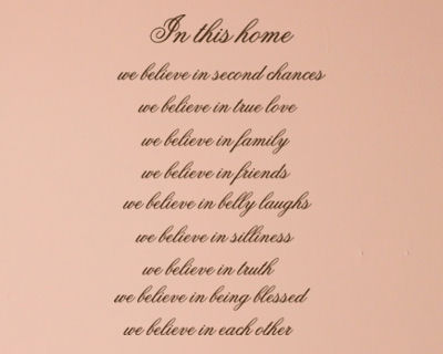 In This Home We Believe Wall Decals
