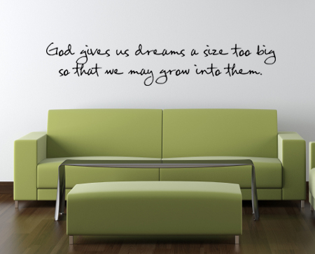 Dreams A Size Too Big Wall Decal