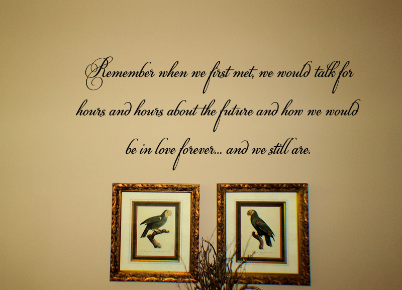 Remember When We First Met Wall Decal