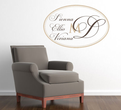 Three Name Monogram Wall Decals