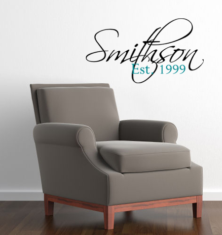 Last Name Established Date Large Wall Decal