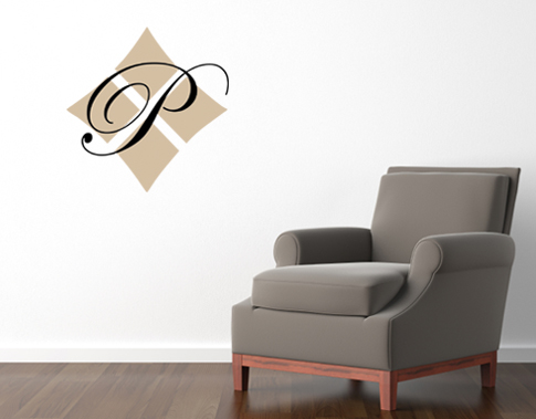 Monogram Initial Diamond Wall Decals