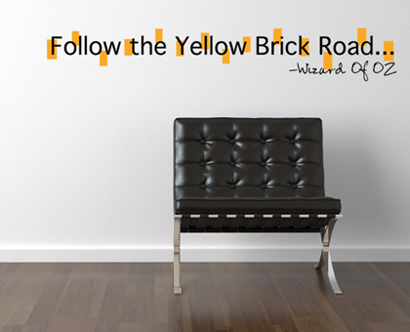 Follow The Yellow Brick Road Wall Decal