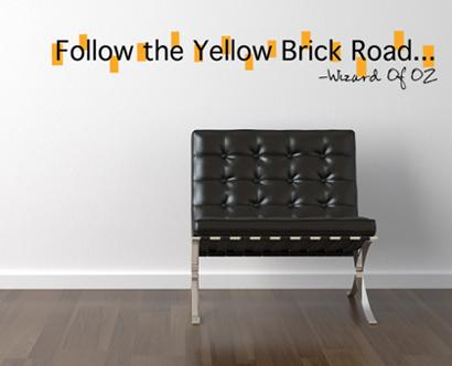 Follow The Yellow Brick Road Wall Decal