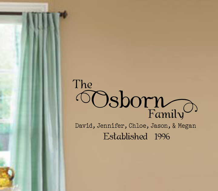 Family Name Individuals and Established Date Wall Decal
