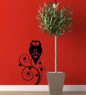 Owl Name Wall Decal