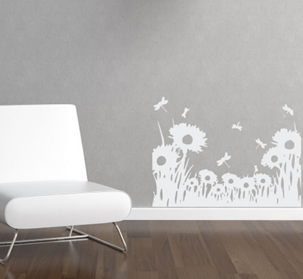 Dragonfly Flowers Wall Decal