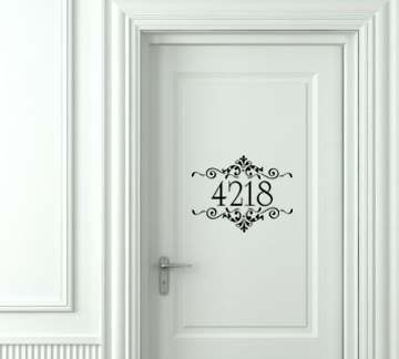 Flourish House Numbers Wall Decal