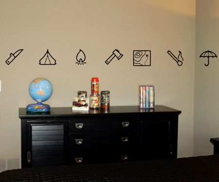 Assorted Camping Symbols Wall Decals