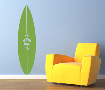 Hibiscus Surfboard Wall Decal