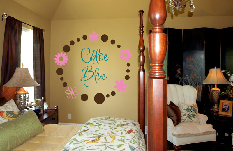Circle Flower Name Wall Decal