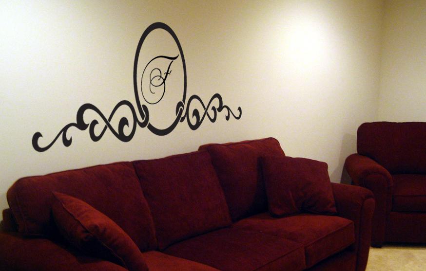 Script Monogram Headboard Wall Decal