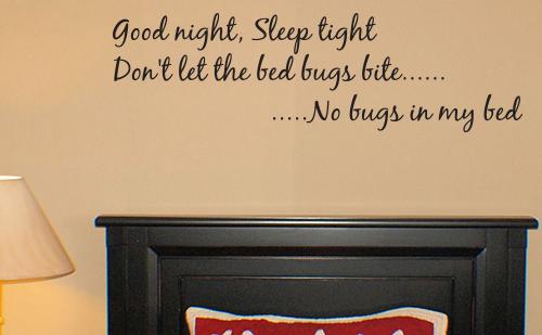 Good Night Sleep Tight Bed Bugs Wall Decals