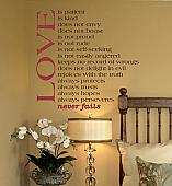 Love Never Fails Wall Decals