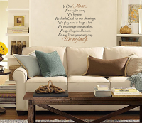 In Our Home We Are Family Design Wall Decal