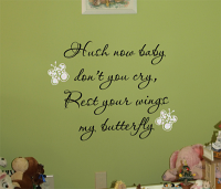 Hush Now Baby Butterfly Wall Decals