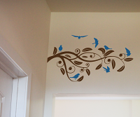Swirly Branch And Birds Wall Decal
